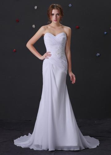 Elegant Chiffon Sweetheart Neckline Mermaid Wedding Dress With Beaded Lace Appliques