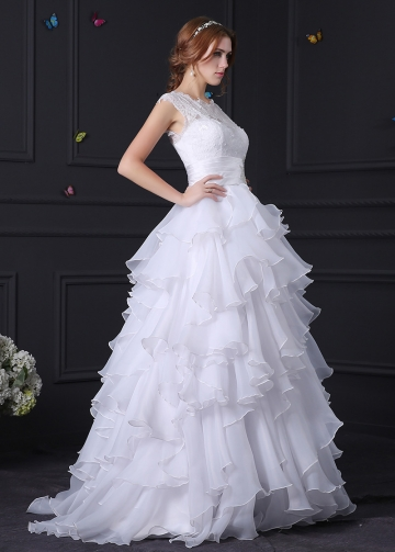 Amazing Lace & Organza Satin A-line Wedding Dress