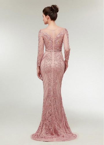 Fantastic Lace Jewel Neckline Floor-length Mermaid Evening Dress With Beadings