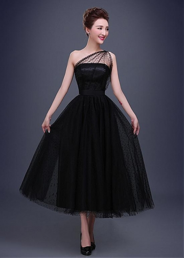 Elegant Dot Tulle One-Shoulder Neckline A-line Evening Dress