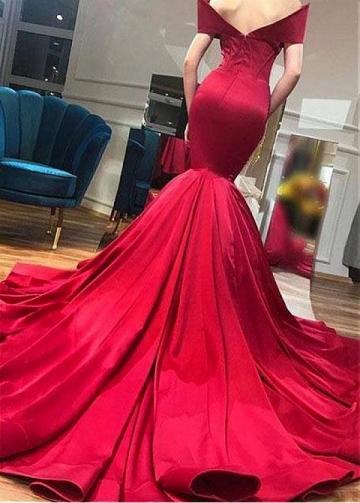 Sexy Tulle & Satin Off-the-shoulder Neckline Floor-length Mermaid Evening Dresses