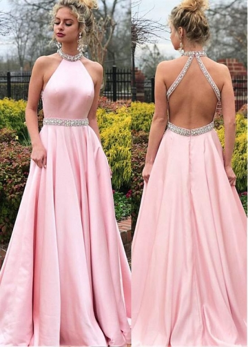 Delicate Satin High Collar Floor-length A-line Prom Dresses With Beadings