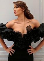 Charming Organza & Spandex Off-the-shoulder Neckline Floor-length Sheath/Column Evening Dresses With Slit