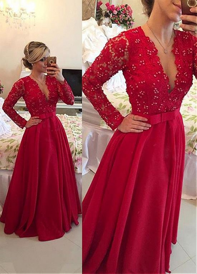 Gorgeous Satin Red V-Neck A-Line Evening Dresses With Beads