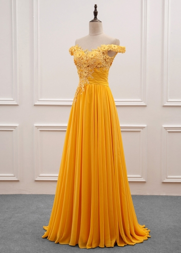 Fascinating Yellow Chiffon Off-the-shoulder Neckline A-Line Prom Dress With Beaded Lace Appliques