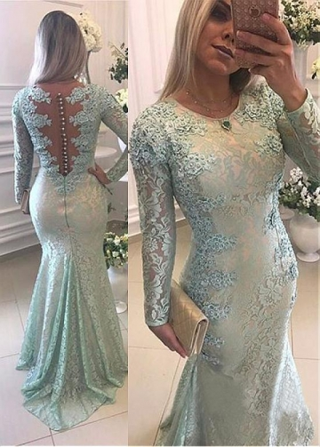 Luxury Lace Scoop Neckline Long Sleeves Mermaid Evening Dress With Beaded Lace Appliques