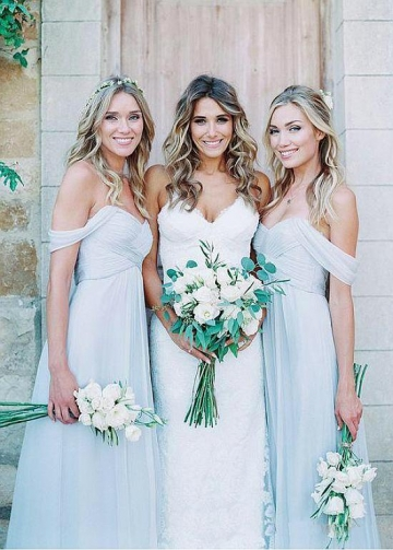 Pretty Chiffon Off-the-shoulder Neckline A-line Bridesmaid Dresses