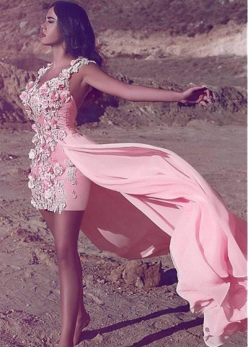 3D Flowers Lace Pink Short Prom Gown with Chiffon Overskirt