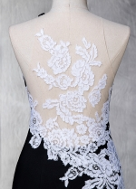 Delicate Stretch Satin Jewel Neckline Mermaid Formal Dress With Lace Appliques