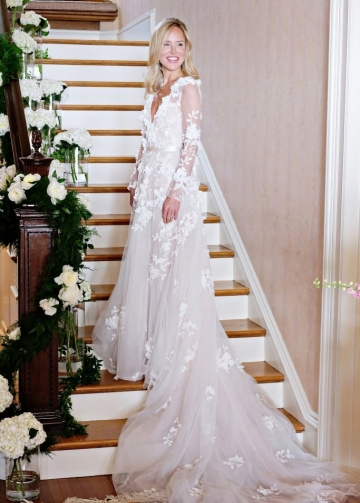 3D Floral Lace Long Sleeves Bridal Gown with V-neckline