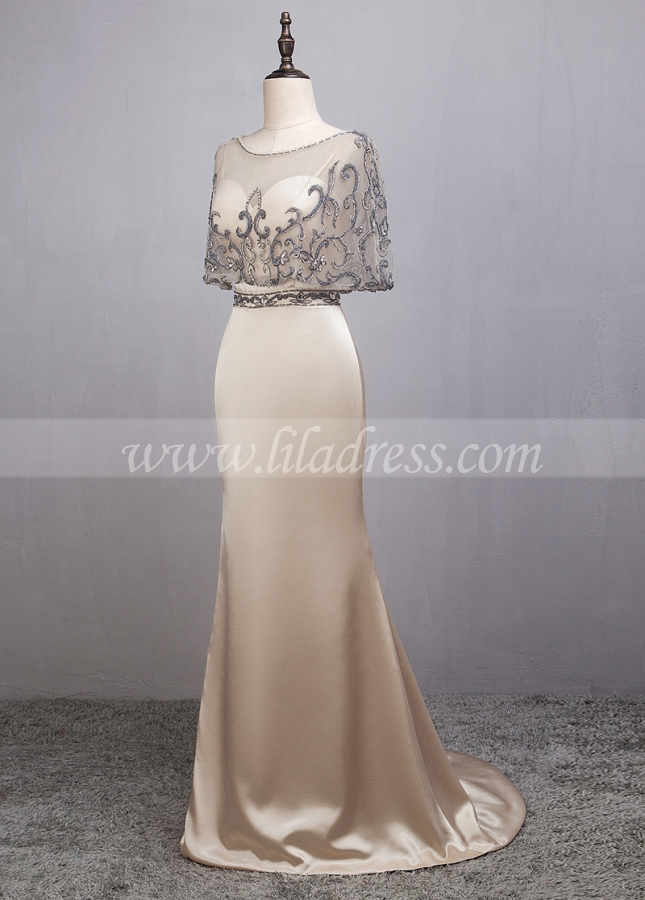 Modest Charmeuse & Tulle Spaghetti Straps Neckline Sheath/Column Evening Dresses With Detachable Jacket