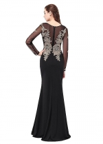 Black Scoop Neckline Sheath Evening Dresses With Lace Appliques