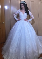 Alluring Tulle Jewel Neckline Ball Gown Wedding Dresses With Beaded Lace Appliques