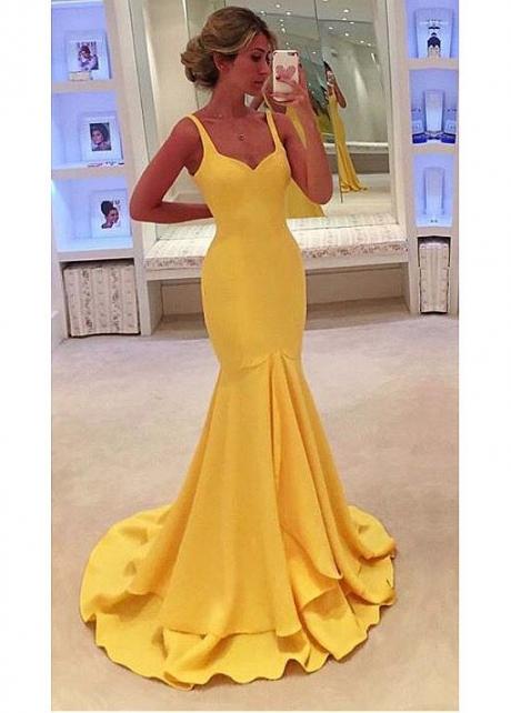Amazing Yellow Simple Mermaid Evening Dresses