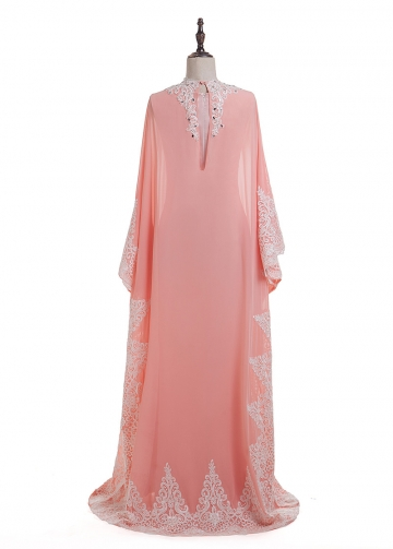 Fantastic Chiffon Jewel Neckline Sheath Kaftan Evening Dress With Lace Appliques & Beadings