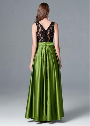 Unique Lace & Satin Jewel Neckline Hi-lo A-line Evening Dress With Sash & Pleats