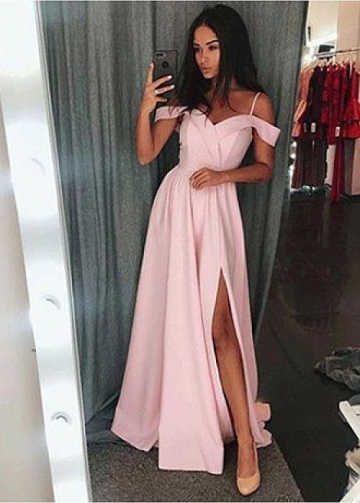 Marvelous Satin Spaghetti Straps Neckline Floor-length A-line Evening Dresses With Belt