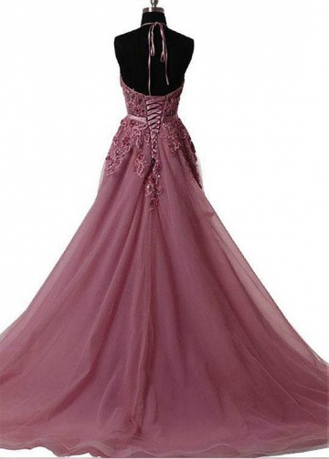 Glamorous Tulle Halter Neckline Floor-length A-line Prom Dresses With Beaded Lace Appliques & Belt