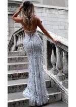 Brilliant Sequin Lace V-neck Neckline Mermaid Evening Dresses