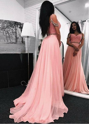 Beautiful Tulle & Chiffon Sweetheart Neckline Floor-length A-line Prom Dresses With Beadings