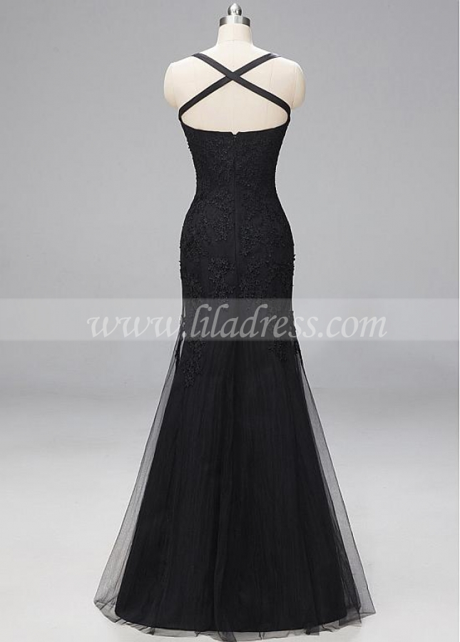 Stunning Lace & Tulle Bateau Neckline Mermaid Evening Dresses
