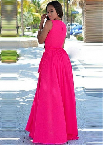 Exquisite Chiffon V-neck Neckline Floor-length A-line Bridesmaid Dresses With Slit