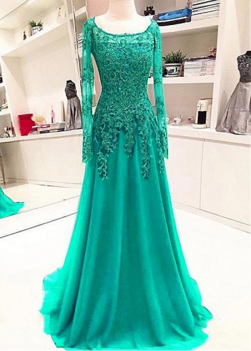 Elegant Tulle Jewel Neckline Floor-length A-line Evening Dresses With Beaded Lace Appliques