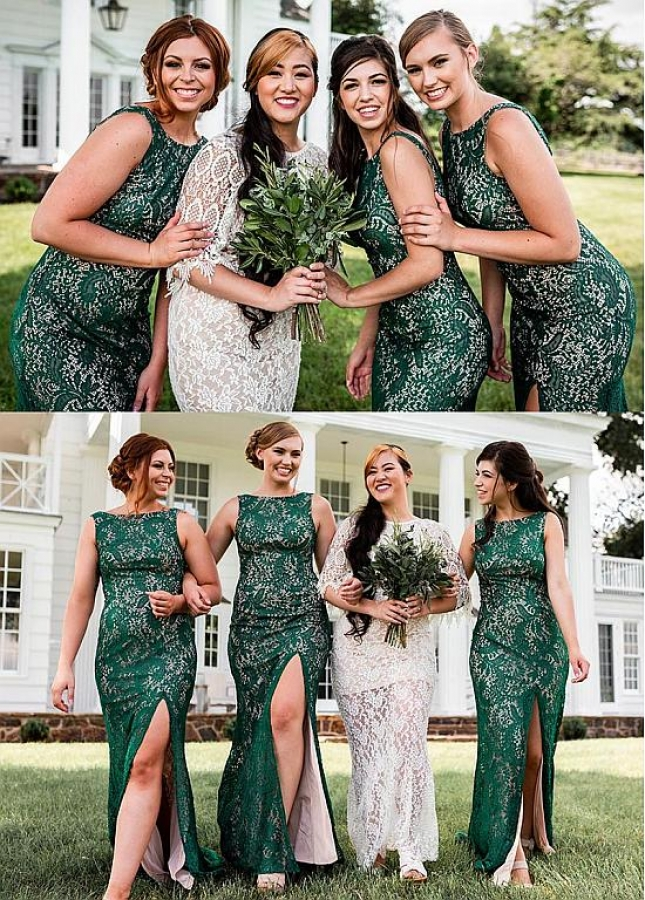 Lightsome Lace Jewel Neckline Sheath/Column Bridesmaid Dresses