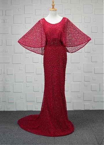 Marvelous Lace Scoop Neckline Sheath/Column Evening Dresses With Beadings