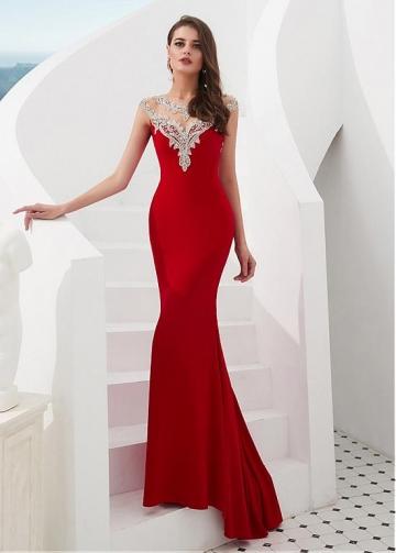 Glamorous Tulle & Satin Jewel Neckline Floor-length Mermaid Evening Dresses With Beadings