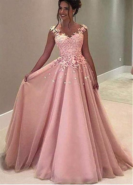 Junoesque Tulle V-neck Neckline Floor-length A-line Prom Dresses With Lace Appliques