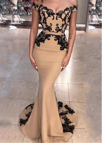Exquisite Satin Off-the-shoulder Neckline Floor-length Mermaid Evening Dresses With Belt & Lace Appliques