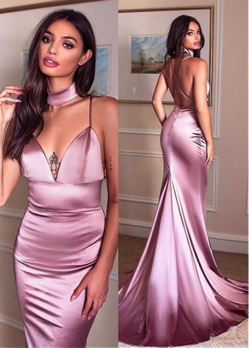 Unique Charmeuse Spaghetti Straps Neckline Floor-length Mermaid Evening Dresses