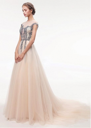 Romantic Tulle Jewel Neckline Floor-length A-line Prom Dress With Beadings