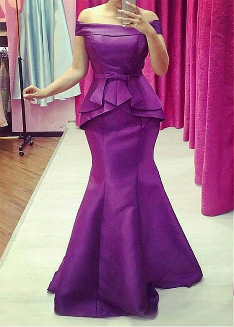 Fashionable Satin Off-the-shoulder Neckline Mermaid Evening Dress With Belt