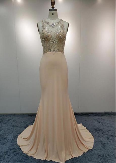 Modest Jewel Neckline Mermaid Evening Dress With Beadings