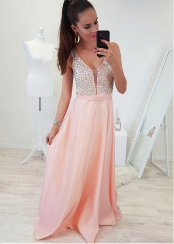 Fashionable Satin V-neck Neckline A-line Prom Dress With Beadings