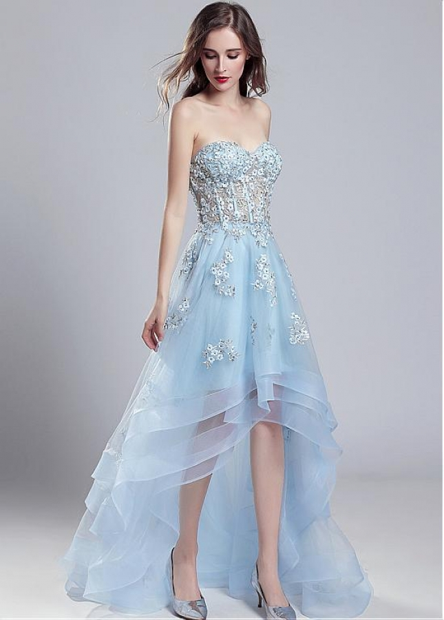 Romantic Tulle Sweetheart Neckline See-through Hi-lo A-line Prom Dress With Beadings & Lace Appliques