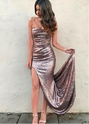 Modest Sequin Lace Sweetheart Neckline Sheath/Column Prom Dress With Slit