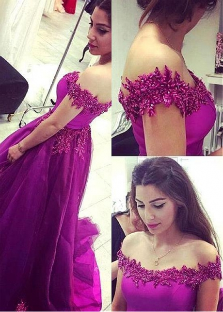 High Quality Satin & Tulle Off-the-shoulder Neckline A-line Prom Dress With Beaded Lace Appliques