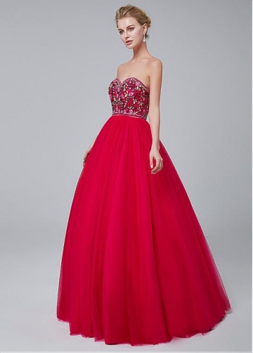 Fashion Tulle Sweetheart Neckline A-line Prom Dress With Beaded Embroidery