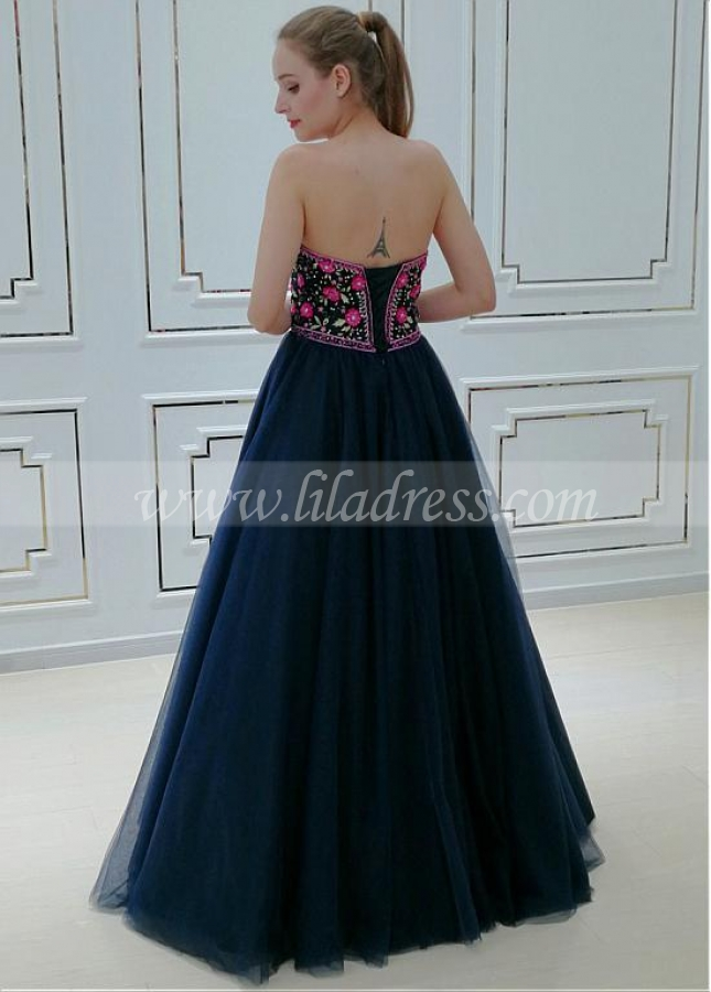 Elegant Tulle Sweetheart Neckline A-line Evening Dress With Beaded Lace Appliques