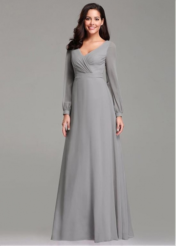 Elegant V-neck Neckline A-line Bridesmaid Dresses