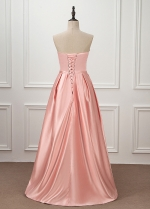 Elegant Satin Sweetheart Neckline A-line Floor-length Prom Dress With Beaded Lace Appliques & Belt