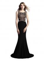 Black Scoop Neckline Floor-length Mermaid Formal Dresses With Beadings