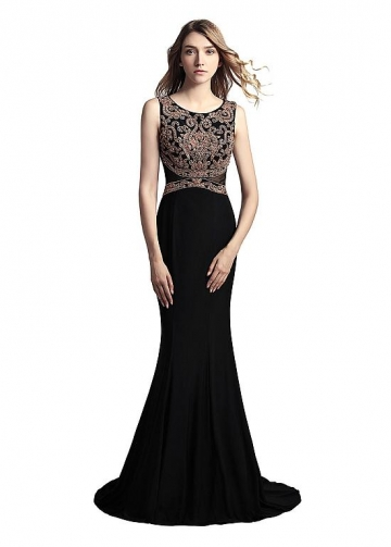 Black Scoop Neckline Floor-length Mermaid Formal Dresses With Beadings