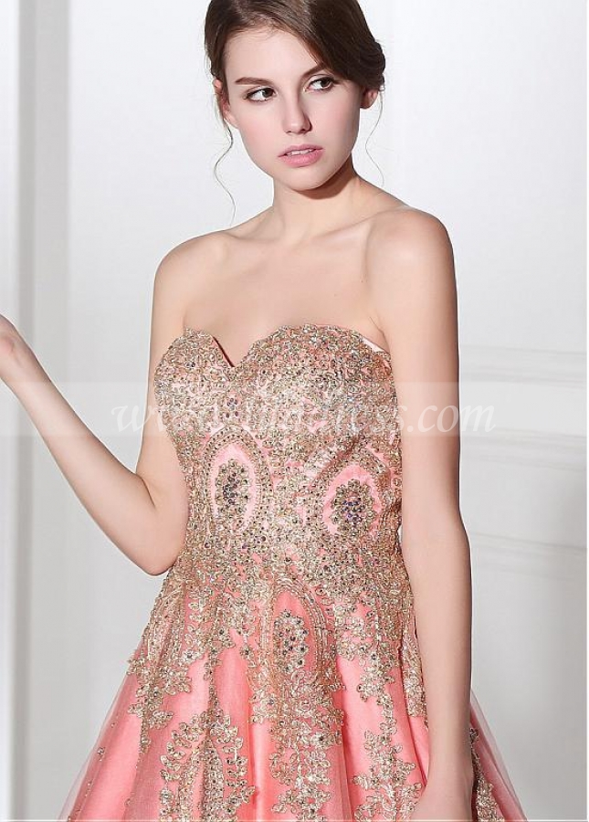 Fabulous Tulle Sweetheart Neckline A-line Evening Dresses With Lace Appliques