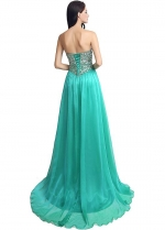 Charming Chiffon Sweetheart Neckline Full-length A-line Evening Dresses With Beadings