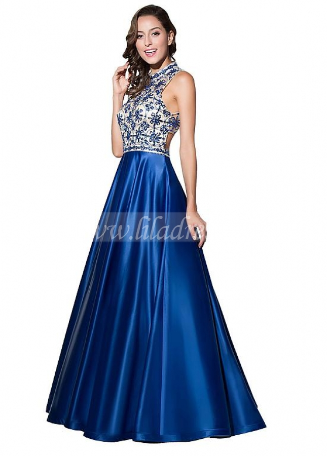 Fantastic Tulle & Satin Illusion High Neckline A-Line Prom Dresses With Beadings