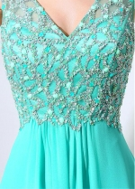 Wonderful Chiffon V-neck Neckline & V-cut Back Natural Waistline A-Line Prom Dresses With Beadings